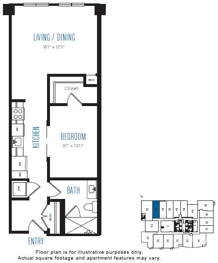 Floor Plan  O6 1 Bed 1 Bath Floor Plan at Stratus, Seattle, WA, opens a dialog