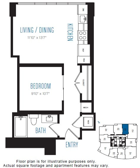 Floor Plan  O9 1 Bed 1 Bath Floor Plan at Stratus, Seattle, WA, opens a dialog