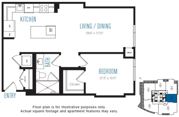Floor Plan  P1 1 Bed 1 Bath Floor Plan at Stratus, Seattle, WA, opens a dialog