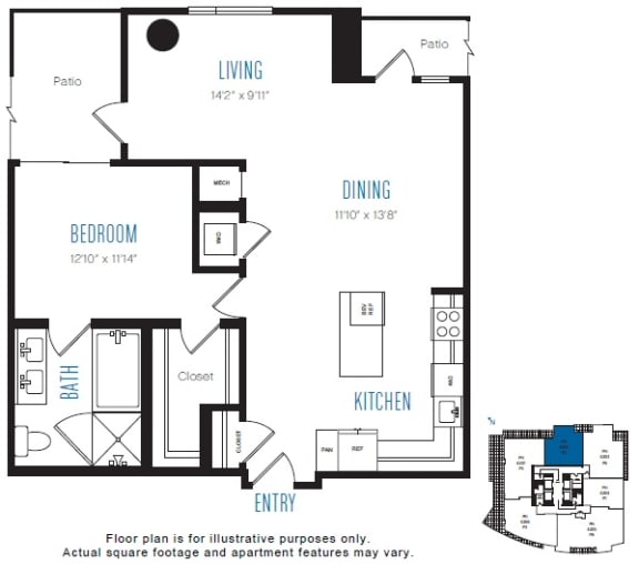 Floor Plan  P2 1 Bed 1 Bath Floor Plan at Stratus, Seattle, WA, opens a dialog