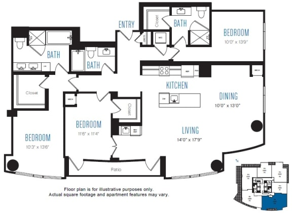 Floor Plan  P6 3 Bed 3 Bath Floor Plan at Stratus, Seattle, WA, opens a dialog