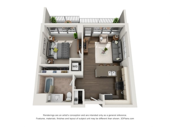 Plan Unit 1A Floor Plan at The Madison at Racine, Chicago, IL