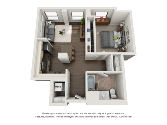 1 Bed 1 Bath Plan 1B Floor Plan at The Madison at Racine, Chicago, 60607