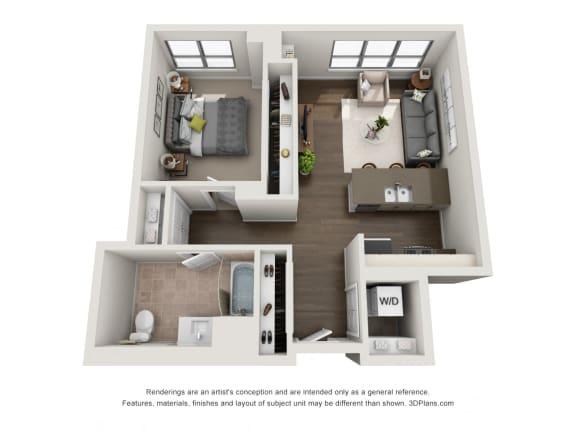 1 Bed 1 Bath Plan 1C Floor Plan at The Madison at Racine, Illinois, 60607
