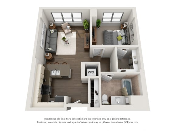 1 Bed 1 Bath Plan 1F Floor Plan at The Madison at Racine, Chicago