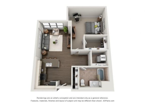 1 Bed 1 Bath Plan 1H Floor Plan at The Madison at Racine, Illinois, 60607