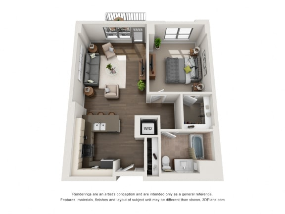 1 Bed 1 Bath Plan 1I Floor Plan at The Madison at Racine, Chicago, IL, 60607