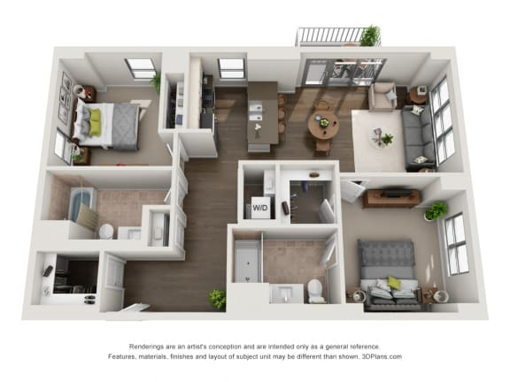 2 Bed 2 Bath Plan2D Floor Plan at The Madison at Racine, Chicago, Illinois