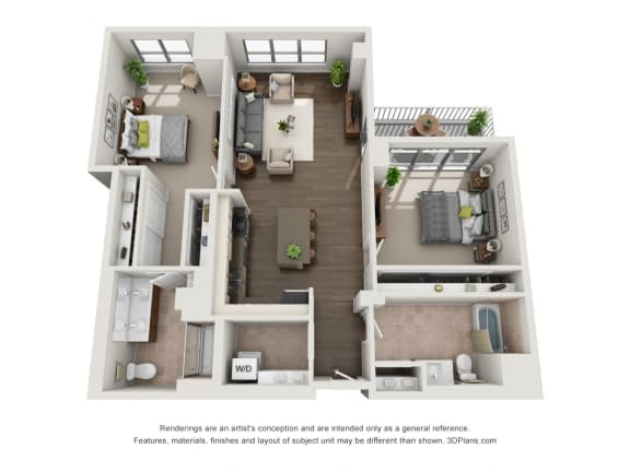 2 Bed 2 Bath Plan2I Floor Plan at The Madison at Racine, Chicago, IL, 60607