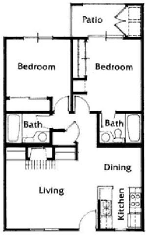Brittany Court two bedroom 2D floor plan