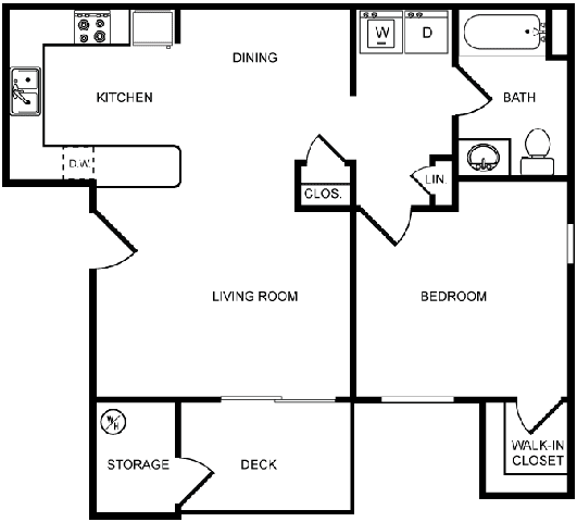 Desert Sands one bedroom floor plan.