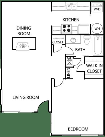El Dorado Place one bedroom floor plan