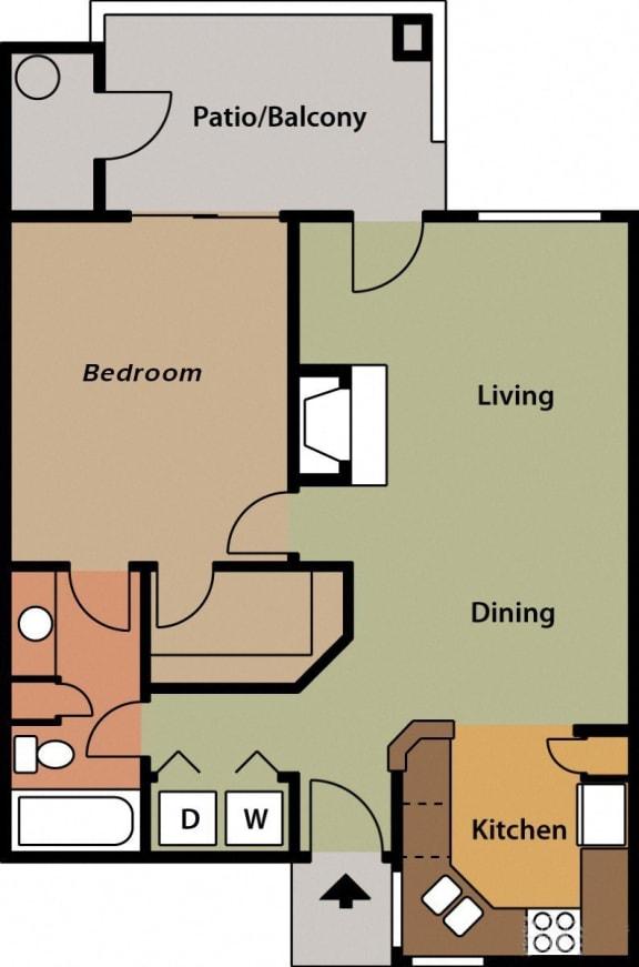 La reserve one bedroom apartment 1A 2D floor plan