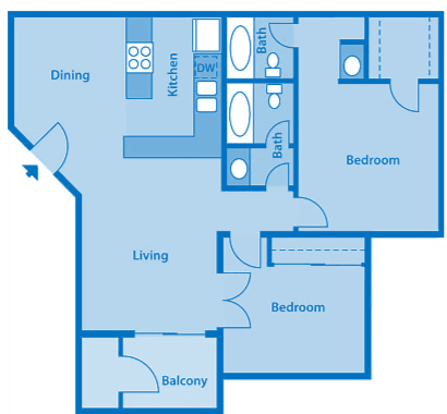 Sycamore Creek 2 Bedroom Floor Plan with Den