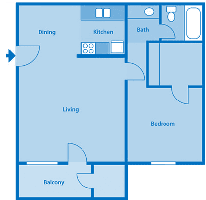 Tanglewood One Bedroom Medium Floor Plan