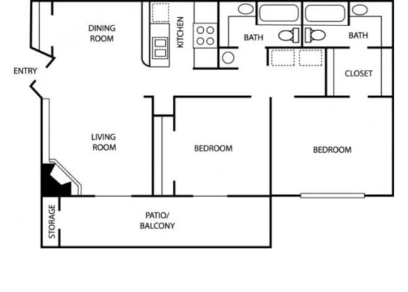 Floor Plan  Two Bedroom Two Bathroom