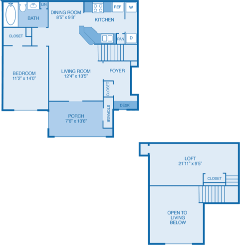 Timberlake Floor Plan at Walden Legacy Apartments, Tennessee