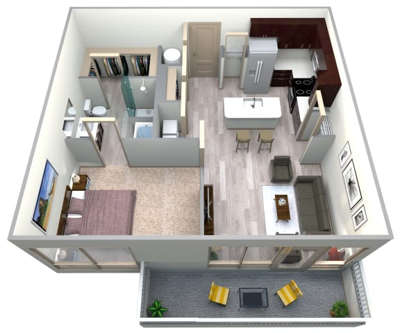 Aqua Floor Plan at Azure Houston Apartments, Houston, TX, 77007