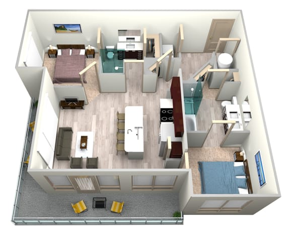 Indigo Floor Plan at Azure Houston Apartments, Houston, Texas