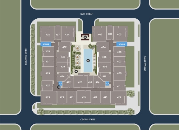 Cerulean Floor Plan at Azure Houston Apartments, Houston, 77007