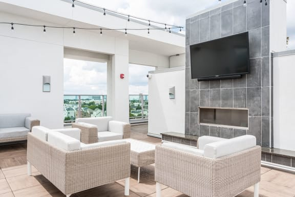 Rooftop Deck at Azure Houston Apartments, Houston, Texas
