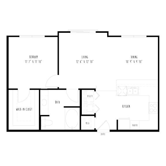 A7: 1 Bedroom, 1 Bathroom Apartment