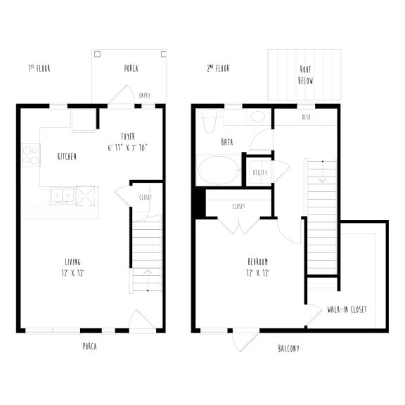 THA5.2: 1 Bedroom, 1 Bathroom Townhome