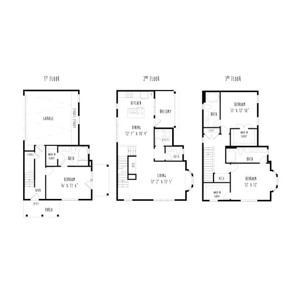 Floor Plan  THC2: 3 Bedroom, 3.5 Bathroom, 2 Car Garage Townhome