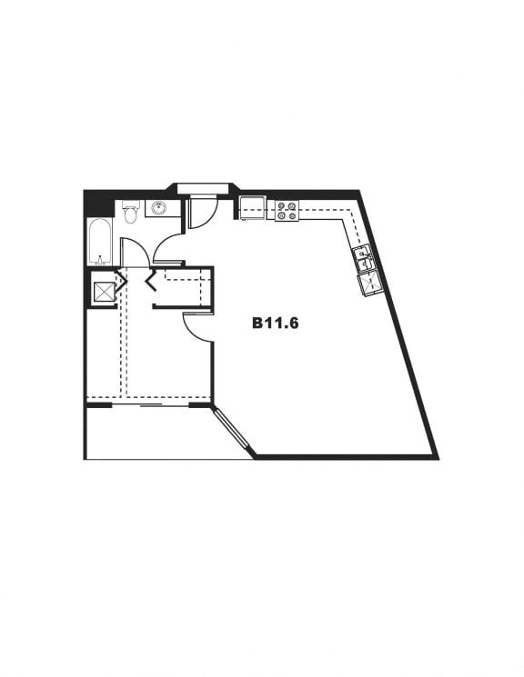 B11.6 Floor Plan at One Santa Fe Residential, Los Angeles, CA