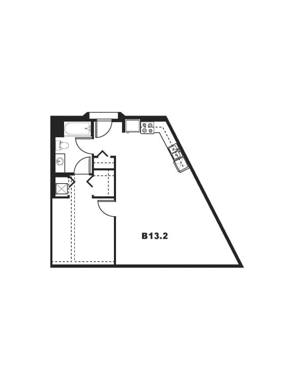 B13.2 Floor Plan at One Santa Fe Residential, Los Angeles, California