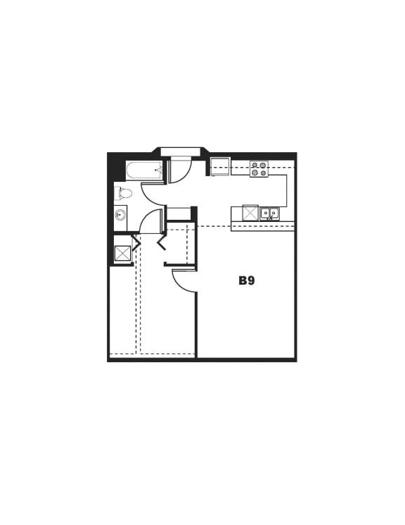 B9 Floor Plan at One Santa Fe Residential, Los Angeles