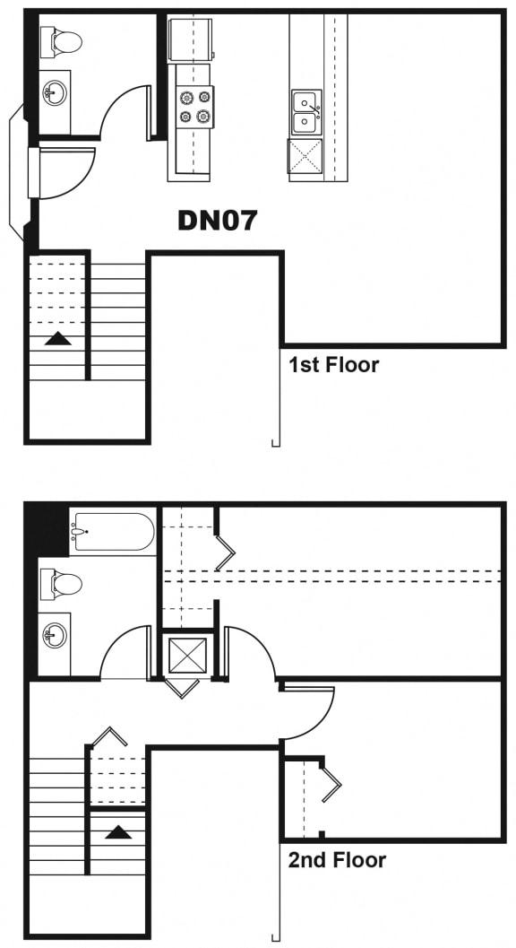 DN07 Floor Plan at One Santa Fe Residential, Los Angeles