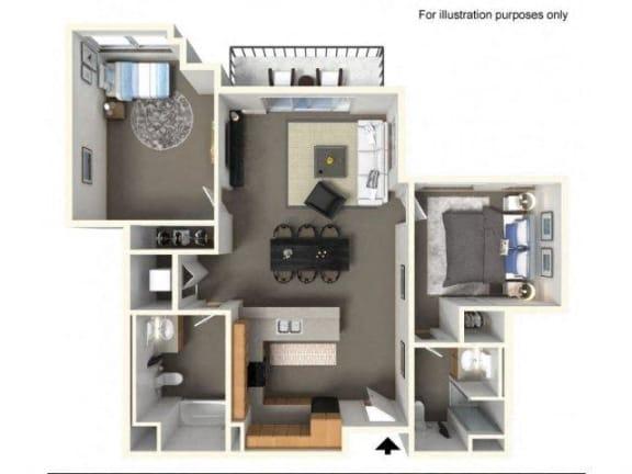 Floorplan at The Villas in Bellevue Apartments, Washington, 98007