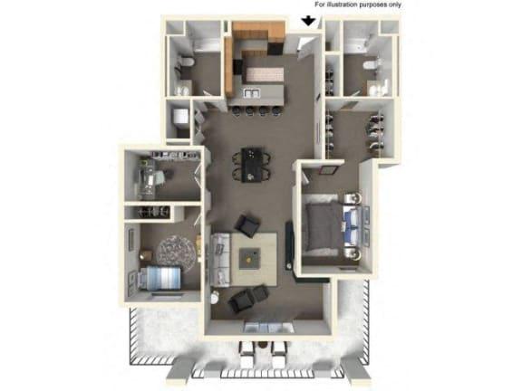 Floor Plan  Floorplan at The Villas in Bellevue Apartments, Bellevue, Washington