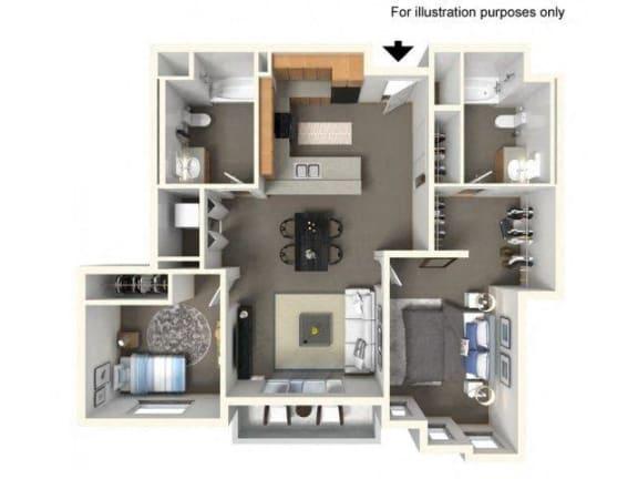 Floor Plan  Floorplan at The Villas in Bellevue Apartments, Bellevue, 98007