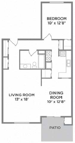 One Bed One Bath Floor Plan at Lawrence Landing, Indianapolis, IN, 46226