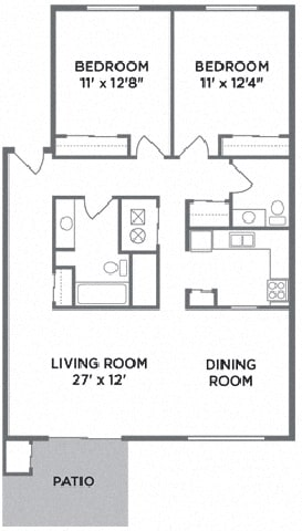 Two Bedroom Floor Plan at Lawrence Landing, Indianapolis, IN