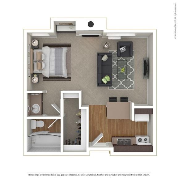 Floor Plan  Large Studio 0 Bed 1 Bath Floor Plan at Cornerstone Apartments, Canoga Park, California