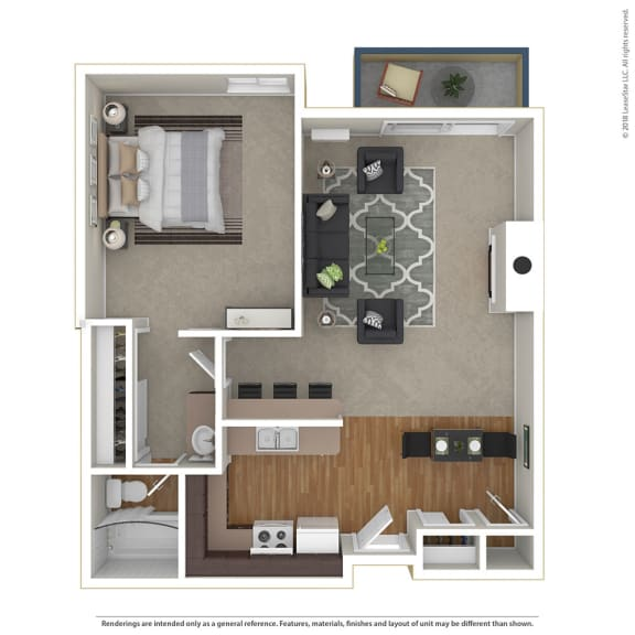 Floor Plan  1BR/1BA 1 Bed 1 Bath Floor Plan at Cornerstone Apartments, Canoga Park