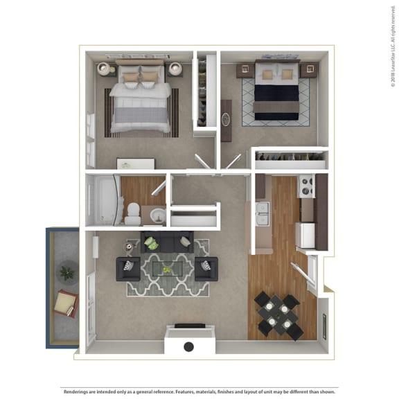 Floor Plan  2BR/1BA 2 Bed 1 Bath Floor Plan at Cornerstone Apartments, California