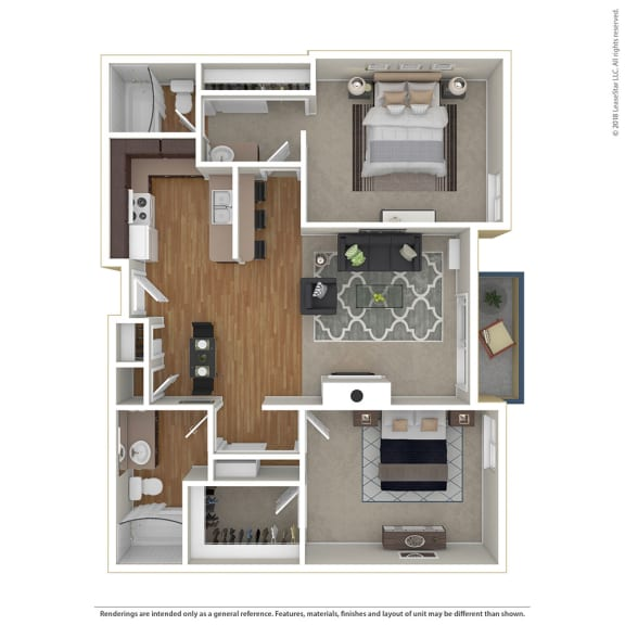 Floor Plan  2BR/2BA 2 Bed 2 Bath Floor Plan at Cornerstone Apartments, California, 91304