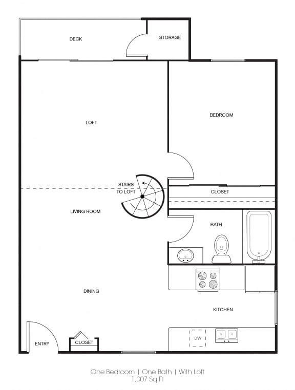 Floor Plan  1BR/1BA B Floor Plan at Independence Plaza, California