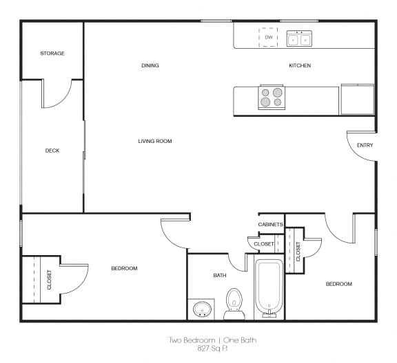 Floor Plan  2BR/1BA 2 Bed 1 Bath Floor Plan at Independence Plaza, California, 91304