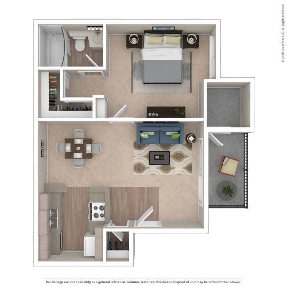 Floor Plan  1BR/1BA A Floor Plan at Independence Plaza, Canoga Park
