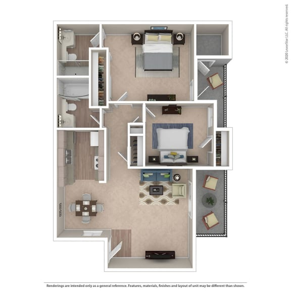 Floor Plan  2BR/2BA Floor Plan at Independence Plaza, Canoga Park, 91304
