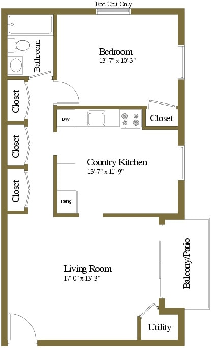 1 bedroom 1 bathroom floor plan at Security Park Apartments in Windsor Mill, MD