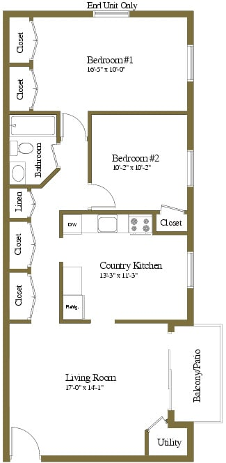 2 bedroom 1 bathroom Montgomery floor plan at Security Park Apartments in Windsor Mill, MD