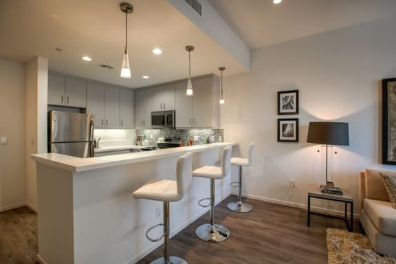 Designer Accents in Glendale Apartments, hardwood floors and quartz countertops, 300 N Central Ave, Legendary Glendale