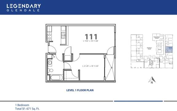 Floor Plan  Floor Plan 111 at Legendary Glendale Modern Apartments, in Glendale, CA