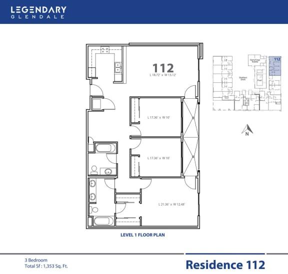 Floor Plan  Floor Plan 112, Apartments in Glendale, California, Legendary Glendale